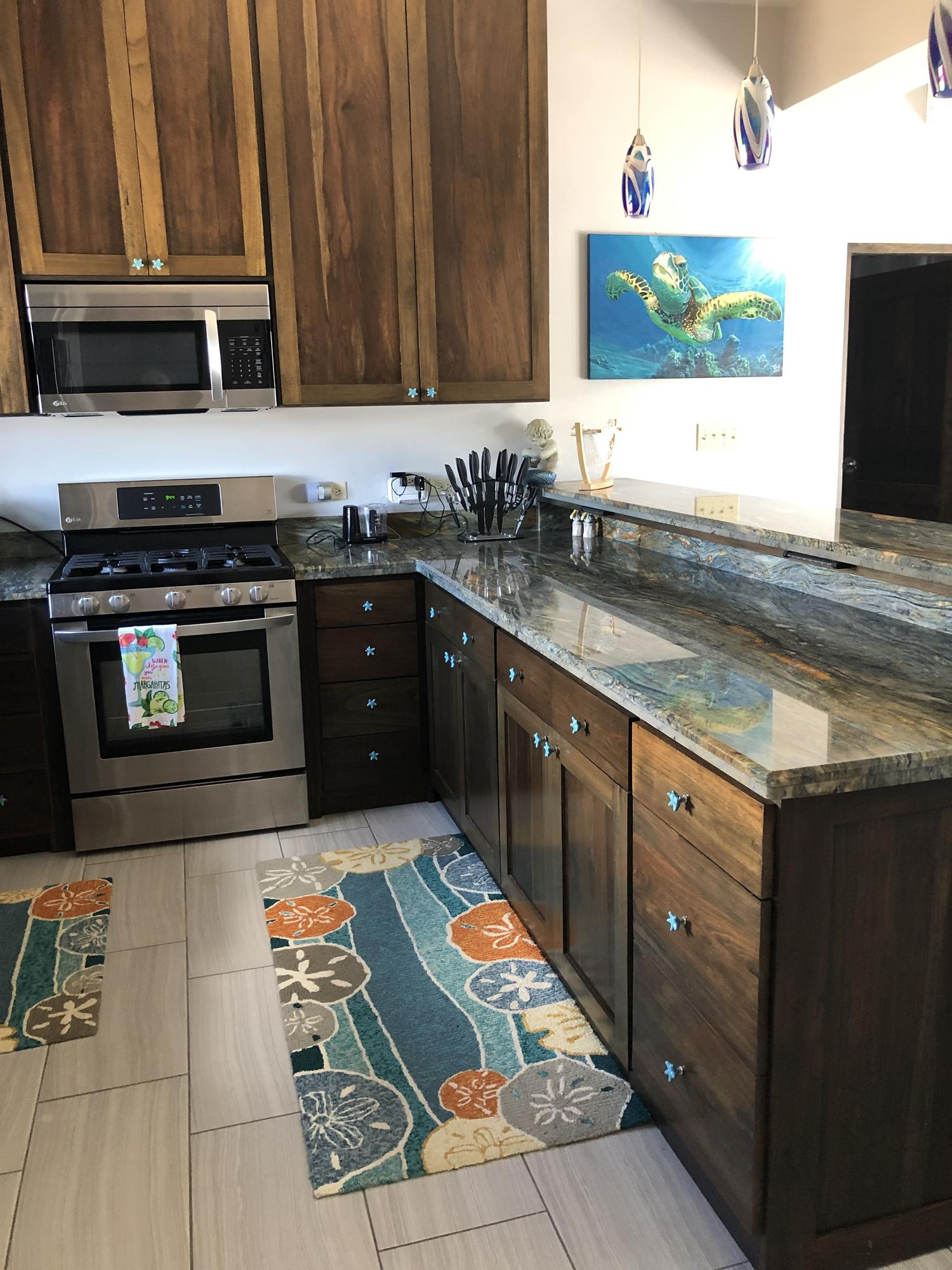 Fully equipped gourmet kitchen with granite counter tops and stainless appliances. Cabinets custom made from Belizean hardwood by local Artisans.